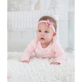 Повязка с блестящим бантиком розовая