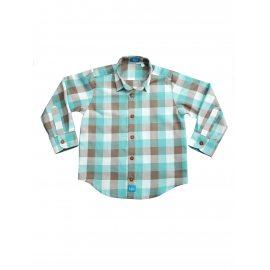 Рубашка в клетку бирюзовая