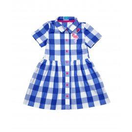 Платье в клетку голубое